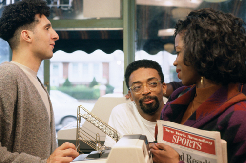 John Turturro (left) as Paulie Carbone and Tyra Ferrell (right) as Orin Goode, with Spike in the middle